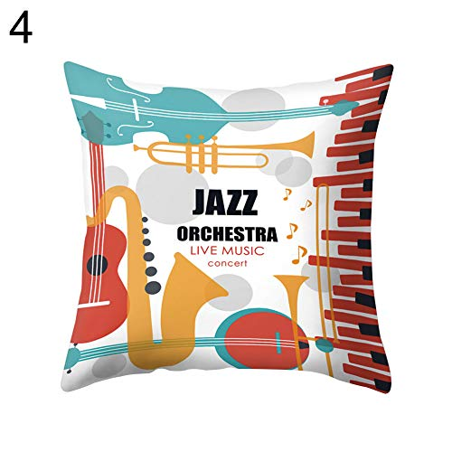 YHCWJZP Pillow Case - Jazz Music Drum Cello Tuba Grid Pillow Protectors Covers - Sofa Throw Cushion Cover Square Pillowcase-Home Bed Car Cafe -