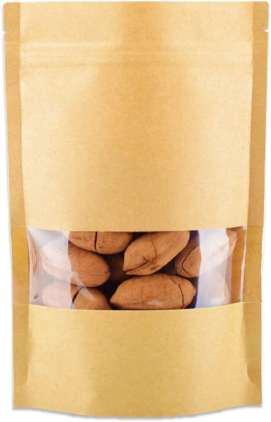 50 Pcs Stand Up Kraft Paper Bag All Purpose Storing Food Storage Reusable Zip Lock Sealing Coffee Beans Seasoning Candy Nuts Biscuits Bags With Notch Matte Transparent Window Pouches … (3.5x5.5)