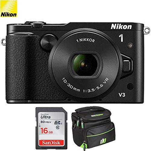 Nikon 1 V3 Mirrorless 18.4MP Digital Camera with 10-30mm Lens - Black (Renewed) with 16GB Bundle Includes, Sandisk Ultra SDHC 16GB Memory Card + Camera Bag for Digital Cameras