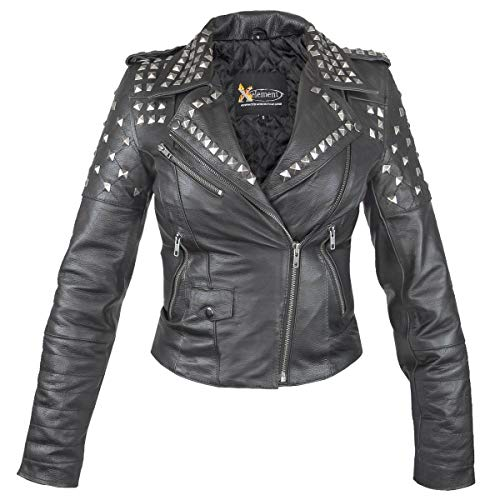 - Xelement XSB932 'Rebel' Women's Black Studded Leather Jacket - Medium