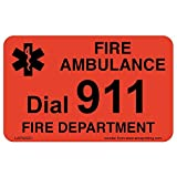 FIRE or MEDICAL Emergency Dial 911 Phone Stickers, 100 Laminated Stickers on Fluorescent Red Gloss with Black Ink