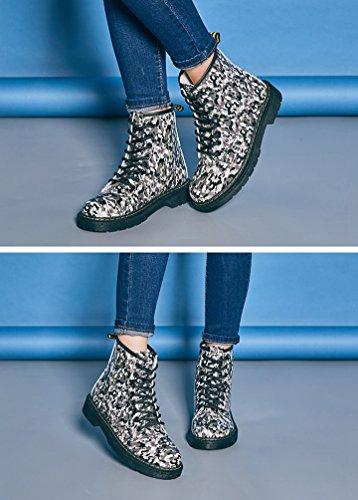 Baymate Damen Klassischer Martin Stiefel Winter Outdoor Stiefeletten Schuhe PU Leder Gedruckt Combat Boots Schwarz # 2