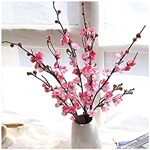 Fake Flowers, Artificial Silk Plum Blossom 1-Piece Floral Real Touch Plastic Floral Plant for Indoor Outdoor Home Wedding Party Living Room Garden Decor (Pink) 70