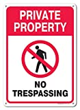 Private Property No Trespassing Sign, Federal 10''x14'' Aluminum, For Indoor or Outdoor Use - By SIGO SIGNS
