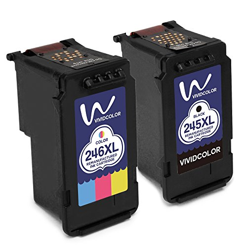 Vividcolor Remanufactured 245 Ink 246 Ink Cartridges compatible for Canon PG-245 CL-246 High Capacity, work with Canon Pixma MG2920 MX492 MG2520 IP2820 MG2922 MG2420 Printer (1 Black 1 Color)