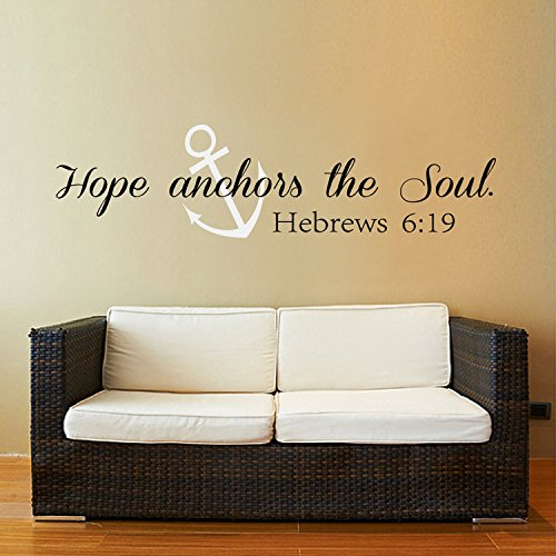 Scripture Wall Decal Bible Verse Wall Art - Hope Anchors The Soul Wall Decal - Hebrews 6:19 Anchors Vinyl Wall Decor (Black + White,xs)