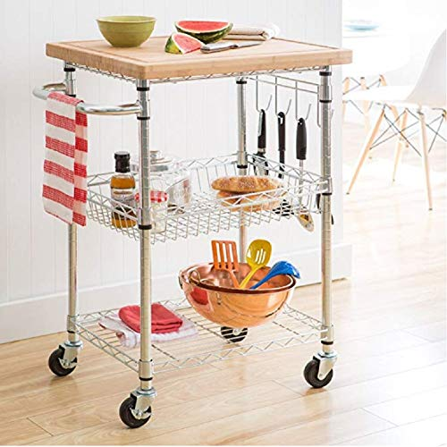 A Stylish and Functional Chrome and Bamboo Mobile Kitchen Cart. The Chrome Base and Bamboo Countertop Will Go with All Kitchen Designs. Scented Tart Included