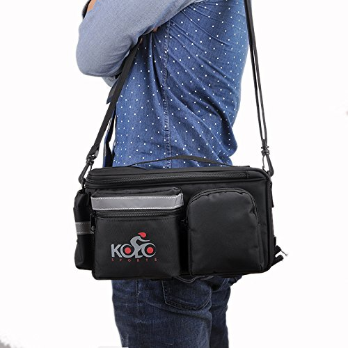 Kolo Sports Bike Pannier Bag | Durable & Waterproof Nylon With Extra Padded Foam Bottom & 3 Side Reflectors | Shoulder Strap Rack Rear Trunk Tote Bag | Strong Velcro, Zipper Pockets & Bottle Case by Kolo Sports (Image #5)