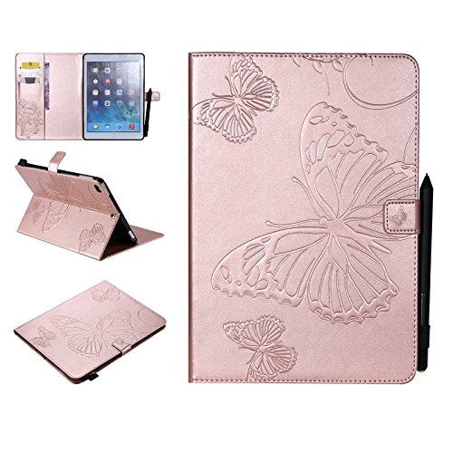 UUcovers iPad 9.7 Inch, Embossed with Butterfly PU Leather AUTO Wake/Sleep Folio Smart Cover with Stand Case for Apple iPad Air 1/2, iPad 9.7 2017/2018-Rosegold