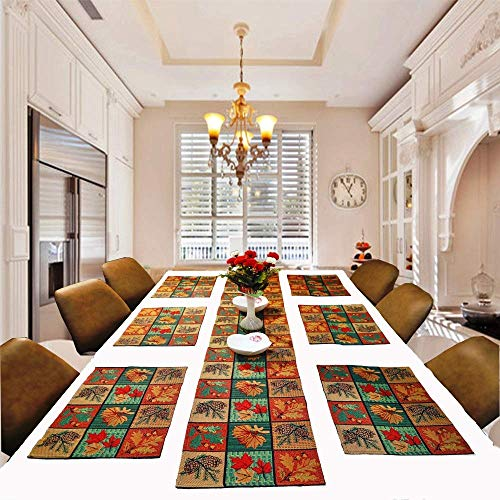 PRAKARTIK BY INDUARTS Cotton Tropical Table mats with Runner Sets, Cloth Jacquard Designer Dining Table Placemats…