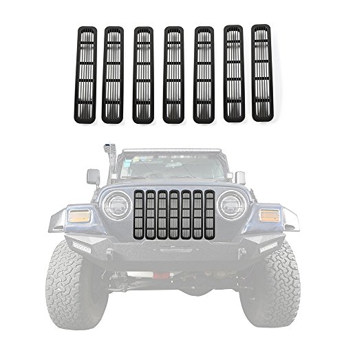 JeCar Matte Black Clip in Front Grill Mesh Grille Insert Kit for 1997-2006Jeep TJ Wrangler Accessories (Black)
