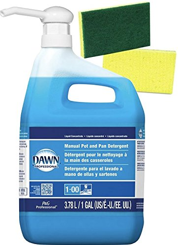 Dawn Professional Dish Detergent Liquid (128 FL oz.) 1 Gallon Bundle — Plus 1 Gallon Size Pump Dispenser and 2 Scrub sponges by Procter & Gamble