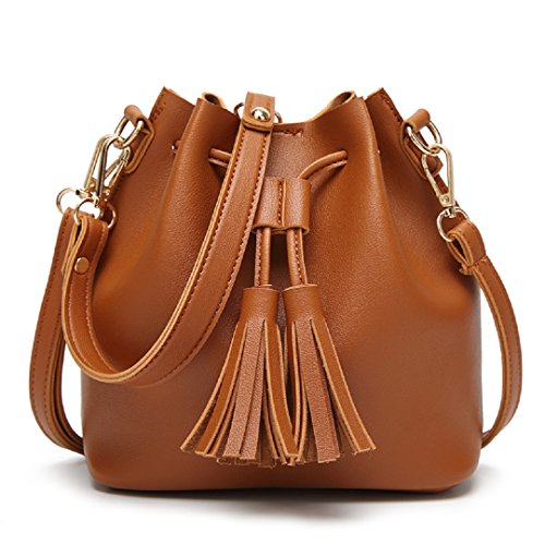 Orfila Mini Bucket Bag Leather Shoulder Crossbody Bag Tassel Drawstring Purse for Women,Brown