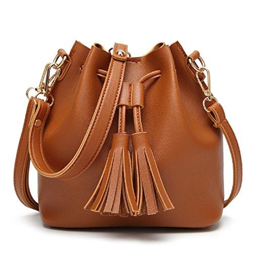 (Orfila Mini Bucket Bag Leather Shoulder Crossbody Bag Tassel Drawstring Purse for Women,Brown)