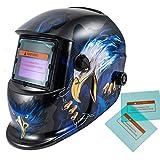 iMeshbean Pro Cool Solar Power Auto Darkening Welding Helmet with Grinding Function & 2 pcs Extra Lens Covers Arc Tig Mig Plasma ANSI Certified Welder #1023 USA