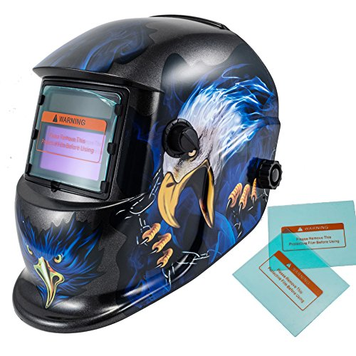 iMeshbean Pro Cool Solar Power Auto Darkening Welding Helmet with Grinding Function & 2 pcs Extra Lens Covers Arc Tig Mig Plasma ANSI Certified Welder #1023 USA