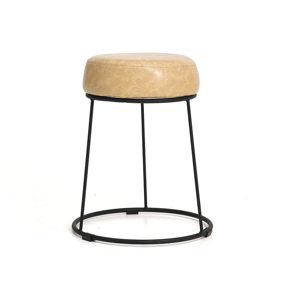 11 28.546cm ZZHF dengzi Upholstered Footstool, Round Wrought Iron Dining Table Stool Dressing Stool Sofa Living Room Bedroom Home Stool Change shoes Bench (color   3, Size   28.5  46cm)