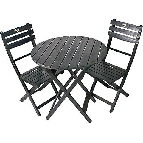 Black Solid Hardwood Eucalyptus Patio Furniture Folding Design Bistro Set - Chrome Hard Rocker