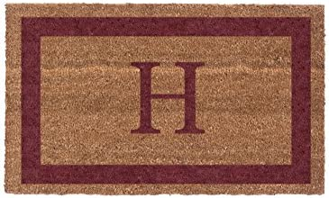 Coco Mats N More Red Single Bordered Monogrammed Coco Doormat 38 x 60 with Vinyl Backing