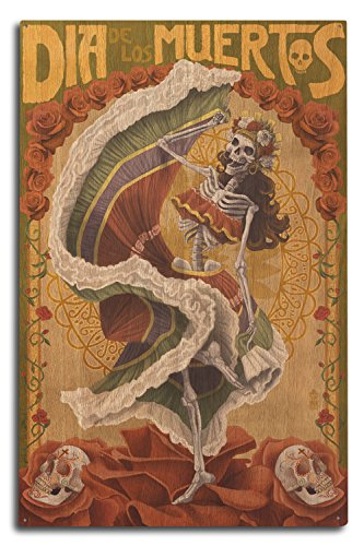 Skeleton Dancing - Day of the Dead (10x15 Wood Wall Sign, Wall Decor Ready to Hang)