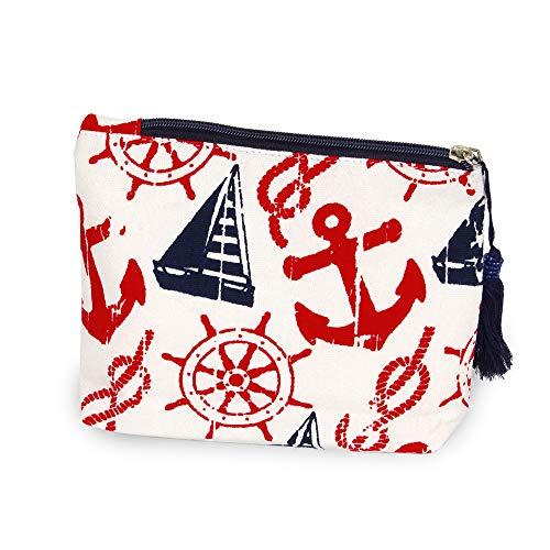 CCFW Navy Nautical Print Cosmetic Pouch Bag Clutch Handbag Casual Purse 100% Cotton (Navy) -