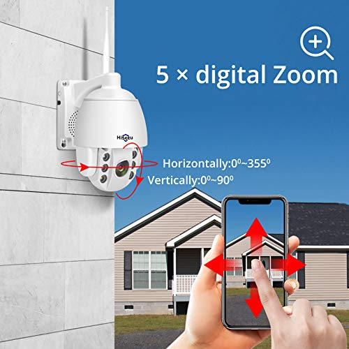 3MP HD Outdoor Wireless Security Camera Pan Tilt Zoom (5X Digital) 2K Compatible Hiseeu Wireless Security Camera System PTZ Camera Two-Way Audio Waterproof Dome Motion Detection Night Vision