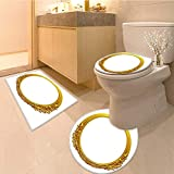 Miki Da 3 Piece Extended bath mat set golden oval frame with ornaments in gold for pictures or mirror 3 Piece Toilet Cover set