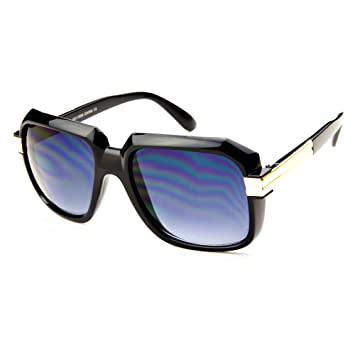 edb03fb4b9e Large Retro Square Gazelle Style Run DMC Aviator Sunglasses (Black)
