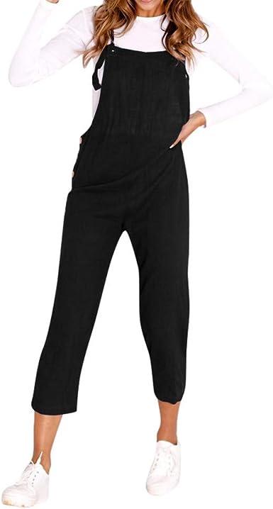Fashion Women Straps Jumpsuit Solid Color Cotton Backless Casual Ladies Playsuit Jumpsuit