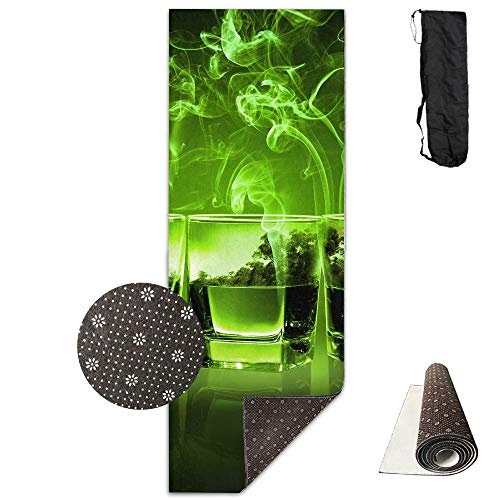 (Bennett11 Yoga Mat with Carrying Bag Green Smoke Cocktail Fitness High Density Anti-Tear Exercise Gym Mat 70.9