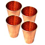 PARIJAT Handicraft Set of 4 Premium Quality Hammered Copper Tumbler - 100% Pure Hammered Copper Tumbler for Moscow Mules