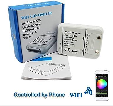 Controlador DC12V-24V RGB LED Wifi, tira de LED RGB/RGBW/RGBWW Modo de música y temporizador de 16 millones de colores Control remoto Wifi de IOS/Android Smartphone