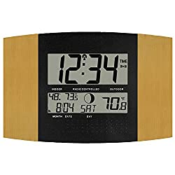 La Crosse Technology WS-8147U-IT Atomic Digital Wall Clock with Temperature and Moon Phase