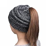 Clode® Warm Womens Ladies Stretch Knited Beanie Hat Winter Cap With Hole for Ponytail