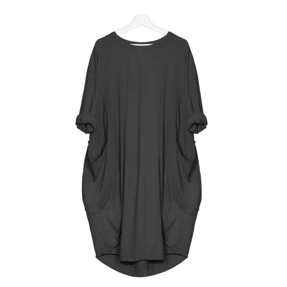 Ronamick vestidos mujer casual 2019 Vestido suelto de bolsillo para mujer Vestido largo de manga larga con cuello redondo para mujer Vestido de tallas grandes Vestidos cortos verano(Gris oscuro,XXL