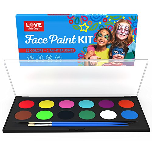 [Face Painting Kit- Safe Non Toxic 12 Vibrant Color Palette . Professional Quality Face & Body Paint Kits with 2 brushes and Bonus E-book. Ideal birthday] (Ultimate Spider Man All Costumes Save)