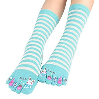 3 Pack Colorful Cartoon Bunny Women's Cotton Toe Socks , One Size (Random Color)