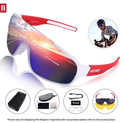 Rocknight REVO Sports Sunglasses for Men Women with 2 Interchangeable Lenses Cycling Running Driving Baseball Glasses UV Protection White Red - Replacement Sunglasses Glass
