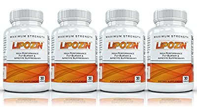 LIPOZIN with Hoodia (4 Bottles) - High Performance Weight Loss Supplement. Best Fat Burning, Appetite Suppressing Diet Pill. Slim down quickly and lose weight fast