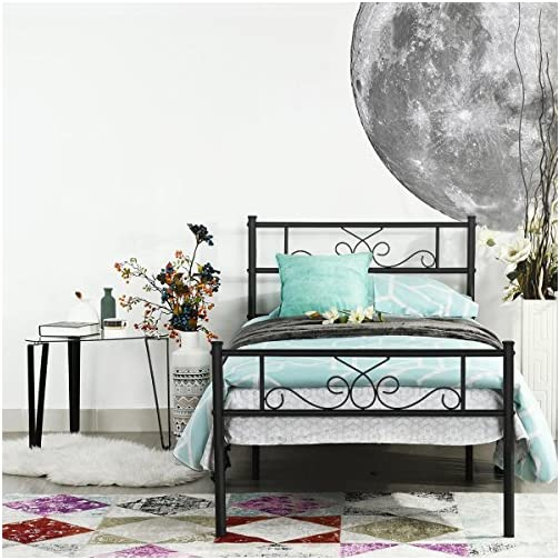 SimLife Platform Kids Adults No Box Spring Support Needed Easy to Put Together Black Twin Size Bed Frame with Headboard…