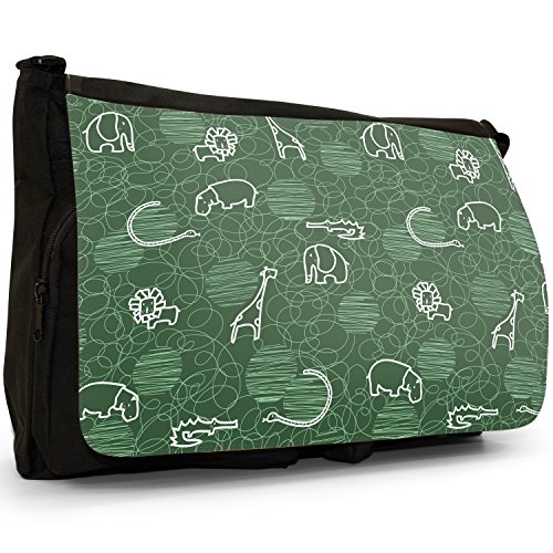 Canvas Messenger Lion Giraffe Elephant Bag Black Shoulder Green Hippo Laptop School Drawing Large n0dSOAqd
