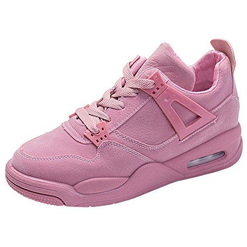 Wealsex Caminatas Al Aire Libre Cómodo Zapatos Casuales Correr Por La Mañana Zapatos De Entrenamiento Encaje Zapatos de Mujer Rosa