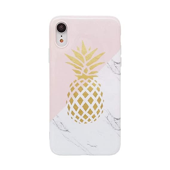 promo code 94f9d 62a59 iPhone XR Case for Girls, YeLoveHaw Flexible Soft Slim Fit Full Protective  Cute Shell Phone Case with Marble and Golden Pineapple Pattern for iPhone  ...