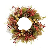 Front Door Hanging Wreath with Glittering Balls & White Pine Needles&Red Fruit,Xmas Decoration Pendant for Hotel Home Window Mall Bar Christmas New-Year Party