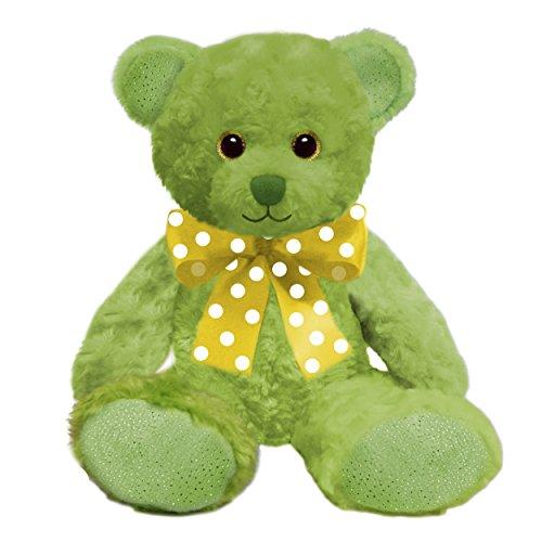 1 Piece Kids 10 Inch Small Cute Green Teddy Bear Stuffed Animal, Lime Cuddly Cub Plush Toy Sparkle Rim Eyes Feet Yellow Polka Dots White Bow Smile Happy Soft Adorable, Polyester Fabric - Sparkle Rim