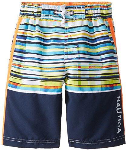 Nautica Big Boys' Photographic Stripe Swim Trunk, Orange, Medium