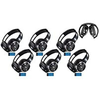 6 Pack of Two Channel Folding Adjustable Universal Rear Entertainment System Infrared Headphones 6 Additional 48 3.5mm Auxiliary Cords Wireless IR DVD Player Head Phones Car TV Video Audio Listening