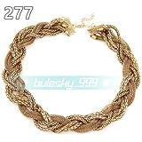 277# Gold Fashion Women Jewelry Pendant Crystal Choker Chunky Statement Chain Bib Necklace