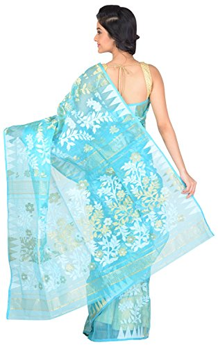 RLB Fashion Women's Cotton Silk Handloom Dhakai Jamdani Saree Free Size Blue by RLB Fashion (Image #1)