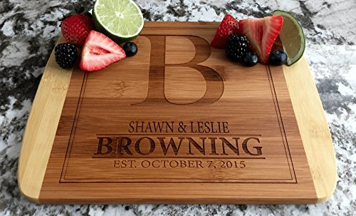 (Personalized Cutting Board for Wedding Gifts - Wood Cutting Boards, Also Bridal Shower and Housewarming Gifts (8.5 x 11 Two Tone Bamboo with Curved Edges, Browning Design))